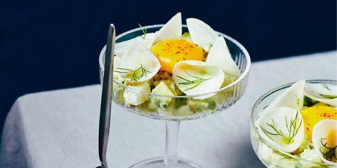 Food, Dish, Ingredient, Cuisine, À la carte food, Garnish, Verrine, Produce, Egg, Finger food,
