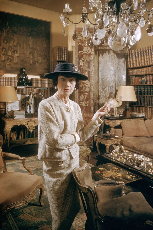 france   circa 1959  coco chanel in paris, france in 1959   miss coco chanel coco chanels appartment, cambon street  photo by kammermangamma rapho via getty images