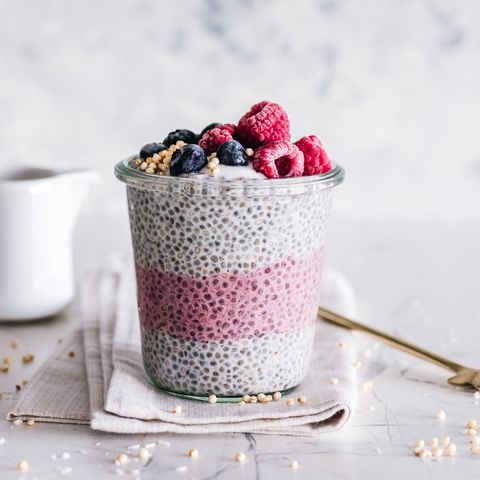 Coconut berry chia pudding jar