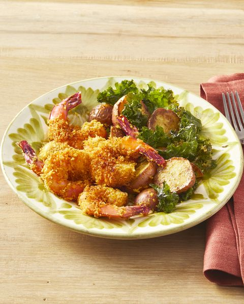 coconut curry shrimp with potatoes and kale