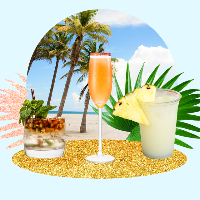 a blue background with palm leaves, a beach, and coconut cocktails