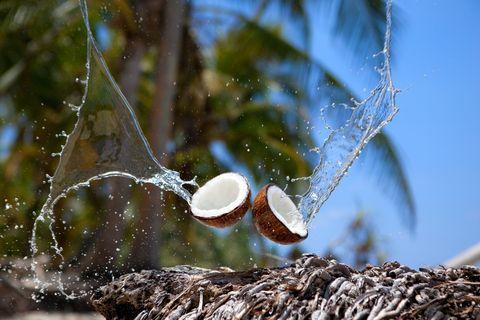 coconut water splashing