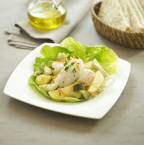Cod with courgette, potato and artichoke