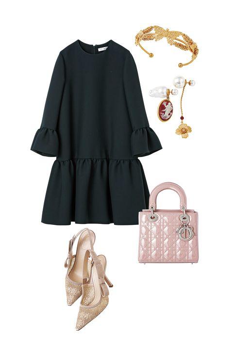 ディオールのワンピースとバッグと靴とピアスとブレスレット