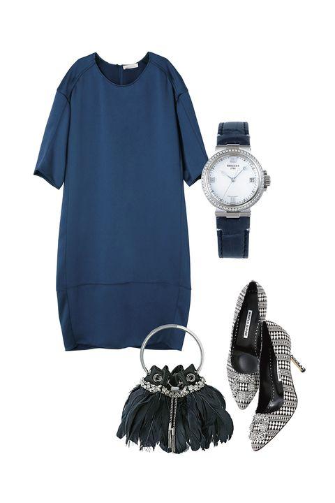 ニナ リッチのワンピースとジミー チュウの靴とマノロ ブラニクのバッグとブレゲの時計