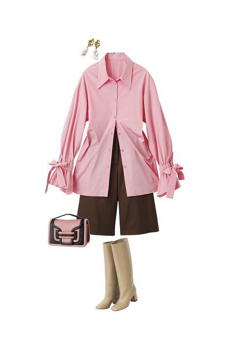 ジェーン スミスのブラウス、マサコ テラニシのパンツ、ピエール アルディのバッグ、ペリーコの靴、ソワリーのイヤリング