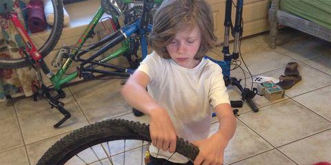 Cody Wyman incorporates bike maintenance into his training.