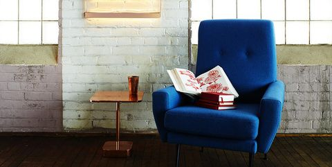 Blue, Furniture, Chair, Couch, Floor, Interior design, Room, Wall, Wood flooring, Flooring,