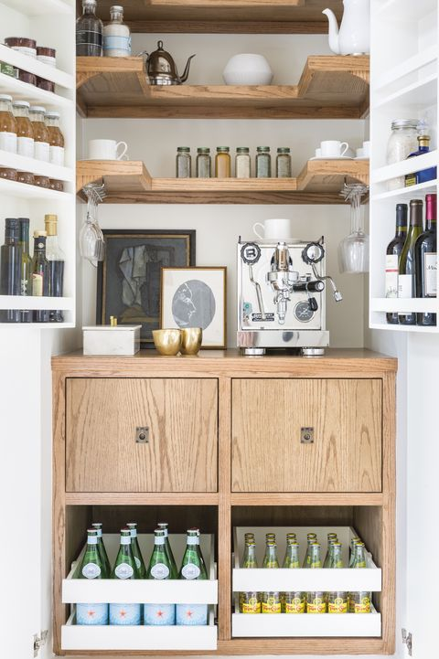 coffee bar ideas  built in cabinet