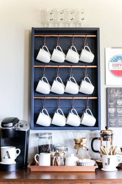Coffee Bar Ideas - Hanging Mugs
