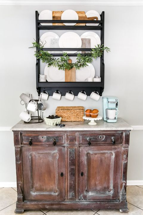 Coffee Bar Ideas - White Waxed Bar
