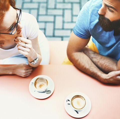 Coffee break conversation.