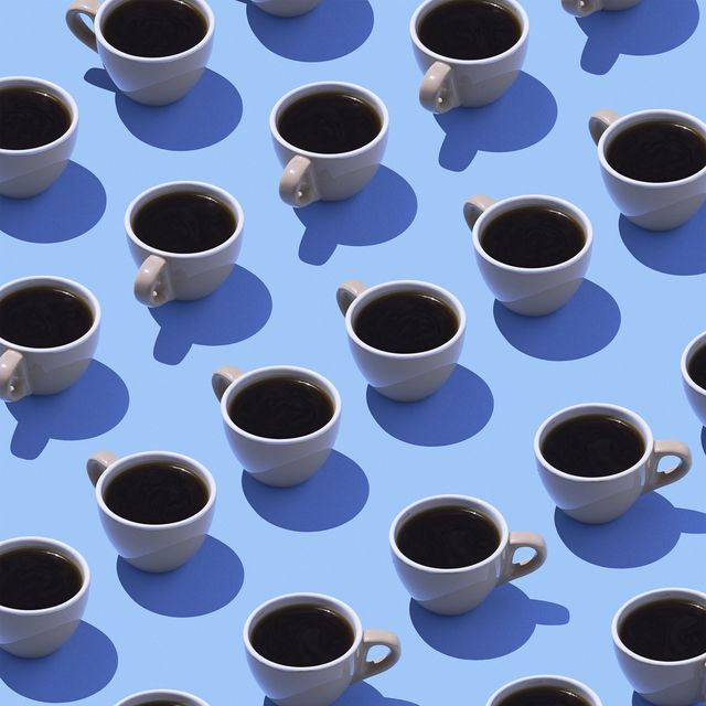 Coffee cups on light blue ground, 3D Rendering