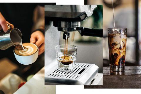 Espresso machine, Drink, Barware, Small appliance, Barista, Espresso, Home appliance, Coffee, Latte macchiato, Liqueur,