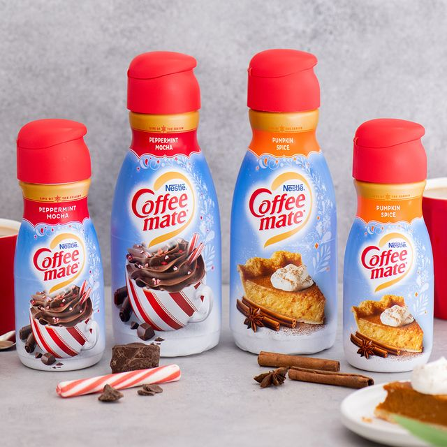 coffee mate pumpkin spice and peppermint mocha creamers