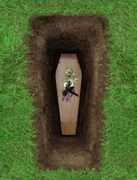Coffin in grave, overhead view