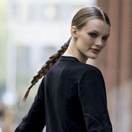 Hair, Hairstyle, Long hair, Beauty, Fashion, French braid, Braid, Blond, Street fashion, Brown hair,