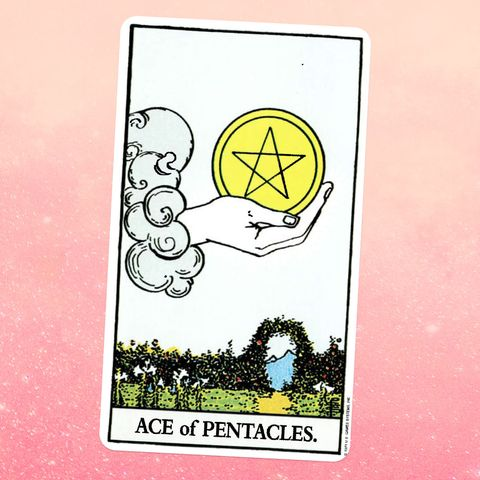 the tarot card the ace of coins, showing a disembodied giant hand coming out of a cloud and holding a coin with a pentacle on it