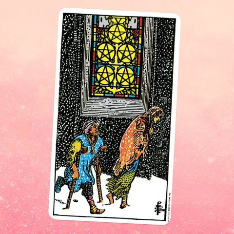 the tarot card for the five of coins, showing two people walking through a snowstorm in the background, a stained glass window shows five coins with a pentacle shape insdie eadh