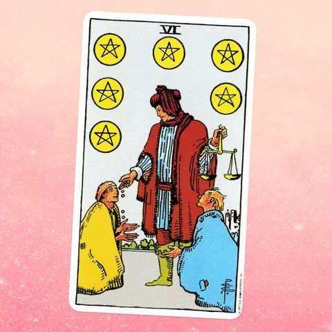 the tarot card six of coins, showing two people kneeling in front of a person in fancy robes the fancy person is holding a scale and giving coins to the kneeling people