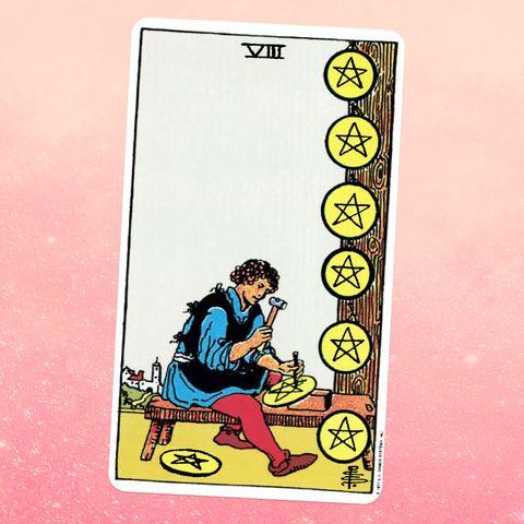 la carte de tarot le huit de pièces, montrant une personne en tunique et collants taillant une étoile dans une pièce géante six pièces sont alignées sur un arbre à côté d'elles, et une autre est sur le sol