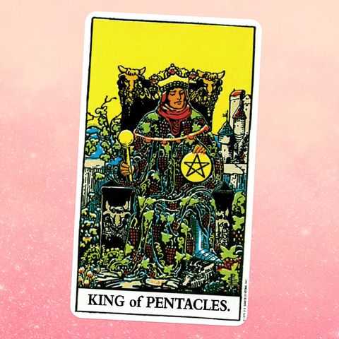 the tarot card the king of pentaclescoins, showing a person in a patterned robe sitting on a throne wearing a crown, holding a coin with a pentacle carved into it in one hand and a scepter in another