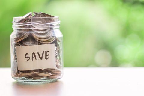 Money, Saving, Product, Mason jar, Leaf, Money handling, Currency, Label, Plant,