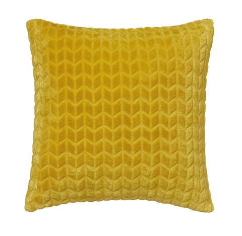 Yellow, Pillow, Throw pillow, Cushion, Furniture, Font, Rectangle, Textile, Linens, Pattern,