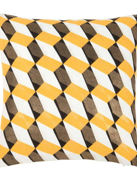 Yellow, Orange, Pattern, Pillow, Throw pillow, Design, Rectangle, Linens, Textile, Furniture,