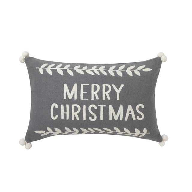 cojín merry christmas de lana gris