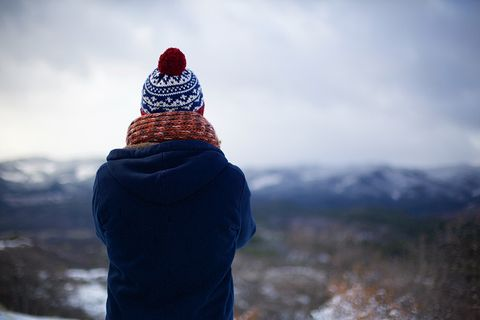 Cold woman in the mountains