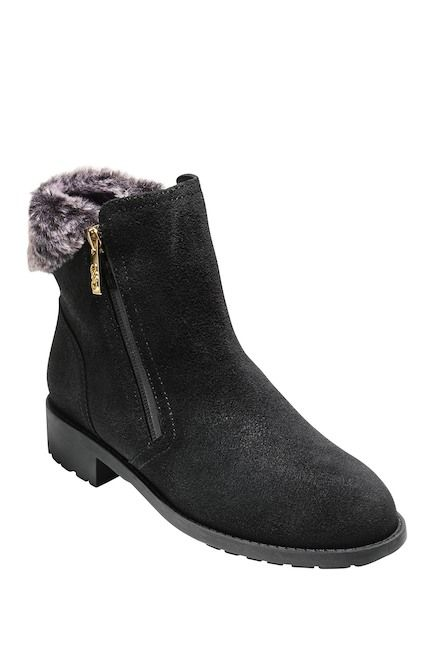 fall and winter boots for women - Quinney Waterproof Bootie with Faux Shearling Trim
