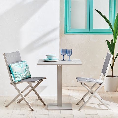 Furniture, Chair, Table, Turquoise, Room, Coffee table, Aqua, Interior design, Folding chair, Desk,