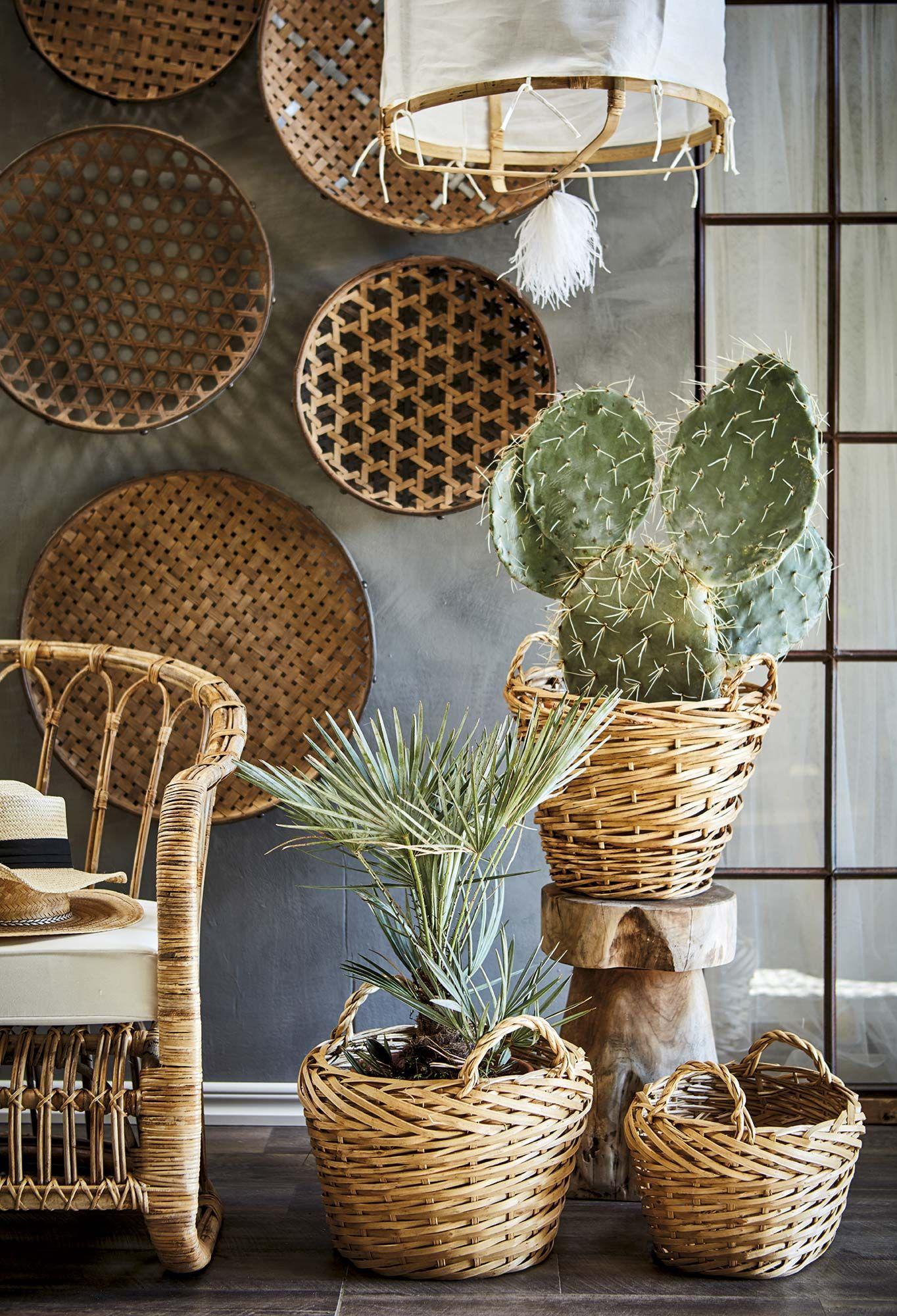 Colección de cestos de mimbre en la pared