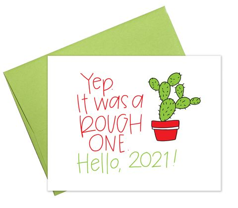 "a card by colette paperie, featuring a prickly cactus, says, ""yup it's been a rough one hello, 2021"""