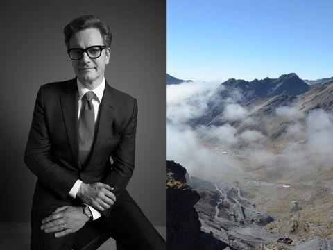 """エシカルゴールドのショパール""""luc xps""""を身につけたコリン・ファース〈左〉 ボリビアのアンデス山中にある小規模な金鉱山、ヤニ・マイン 〈右〉"""