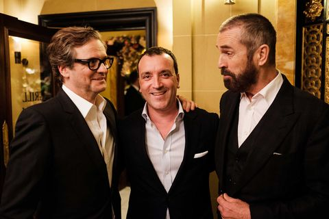 Colin Firth and Rupert Everett with Café Royal's managing director Guillaume Marly