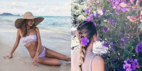Clothing, Bikini, Beauty, Swimwear, Purple, Summer, Vacation, Headgear, Hat, Sun hat,
