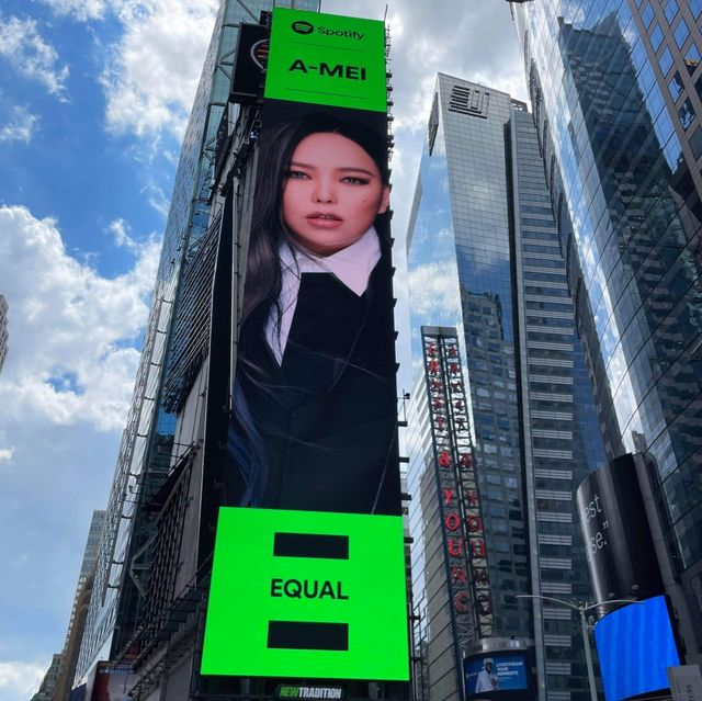 張惠妹 amei 登上「紐約時代廣場」巨幕!台灣被 spotify 選為全球性別平等代表