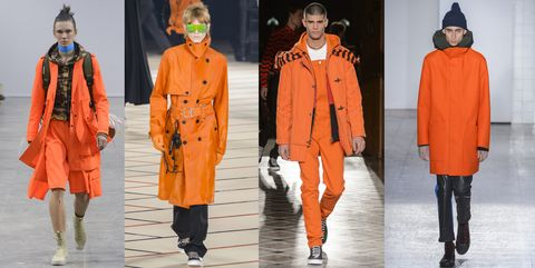 Clothing, Fashion, Orange, Fashion model, Overcoat, Outerwear, Coat, Runway, Fashion design, Fashion show,