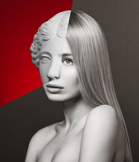 Collage with woman and plaster head