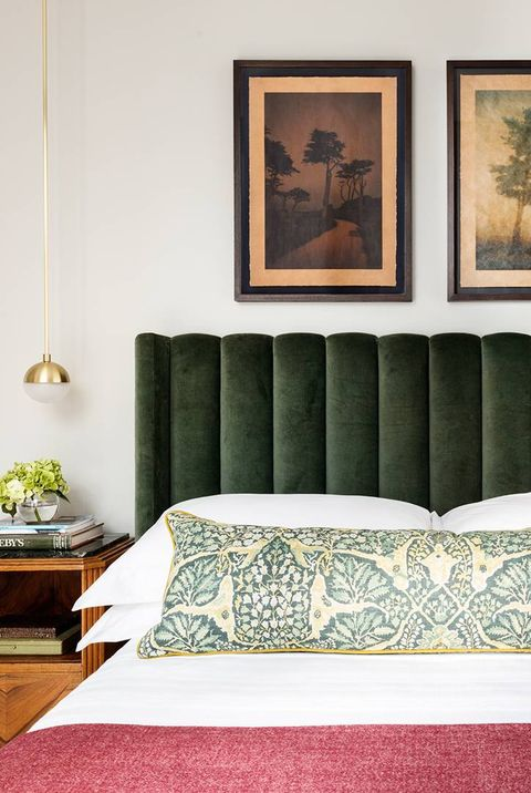 bedroom idea with antique headboard