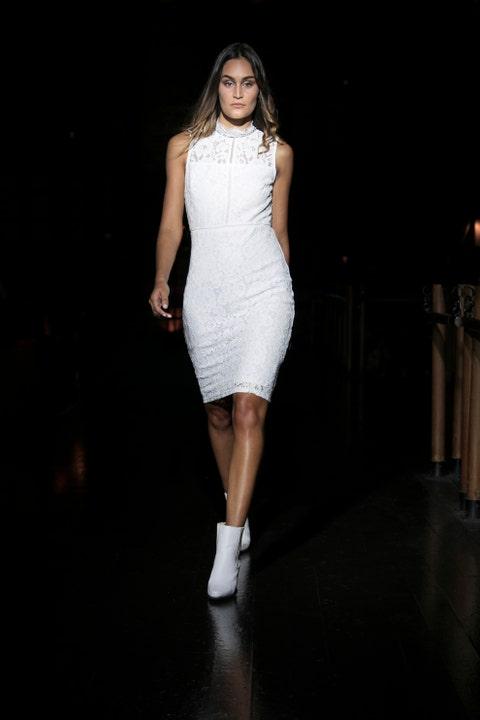Fashion model, White, Fashion, Clothing, Fashion show, Dress, Runway, Shoulder, Fashion design, Beauty,