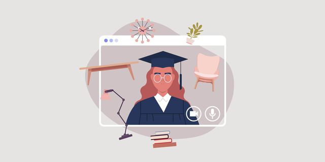 graphic of a woman with a college grad outfit on with little images of a chair, table, lamp, and other accessories around her