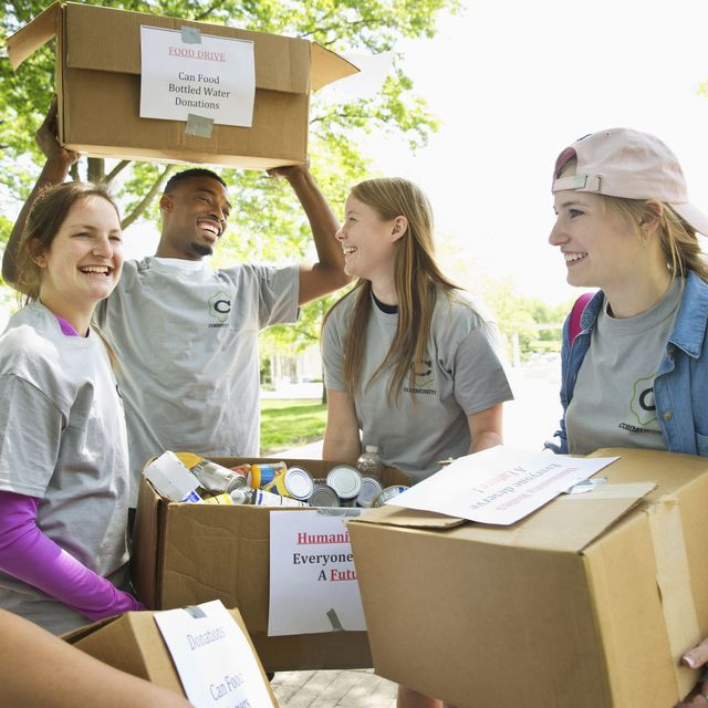 college students helping out in a food drive