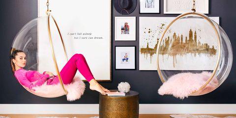 Furniture, Pink, Room, Interior design, Magenta, Stock photography, Living room, Swing,