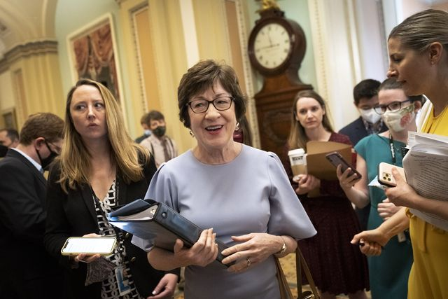 washington, dc   july 28 sen susan collins r me walks to the senate floor after speaking to reporters after meeting privately with senate minority leader mitch mcconnell r ky at the us capitol on july 28, 2021 in washington, dc the group told reporters that they now have an agreement with senate democrats on the major issues of the bill photo by drew angerergetty images