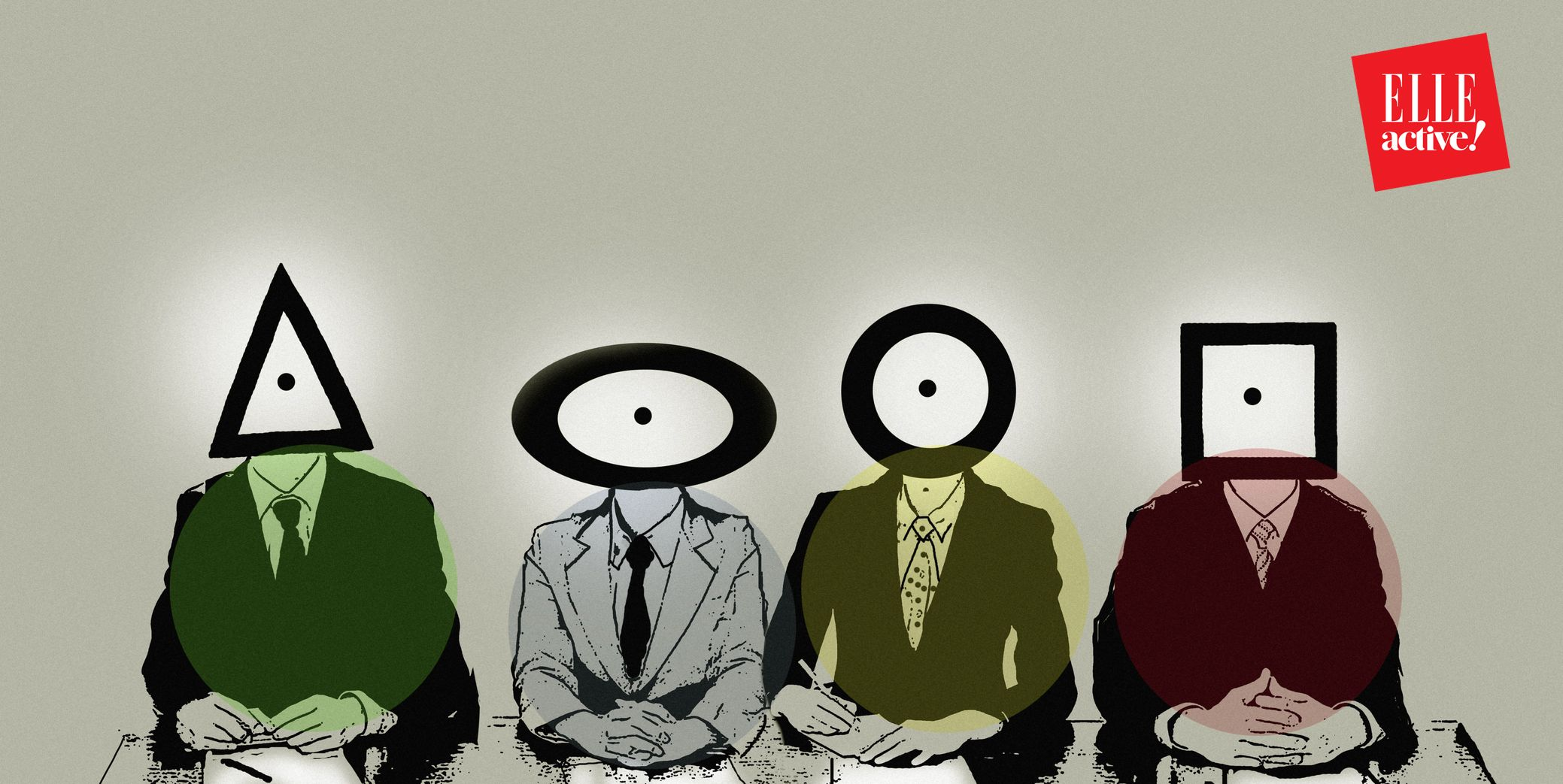 Row of businessmen with different shape heads