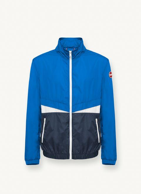 Clothing, Cobalt blue, Jacket, Blue, Outerwear, Electric blue, Sleeve, Windbreaker, Zipper, Coat,