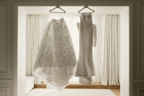 White, Photograph, Clothing, Dress, Room, Wedding dress, Bridal clothing, Curtain, Gown, Furniture,